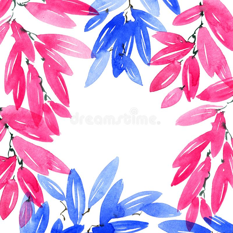 Watercolor painted pink and blue tree leaves. Watercolor and ink illustration of pink and blue tree leaves in decorative style. Natural background for cover royalty free stock photo