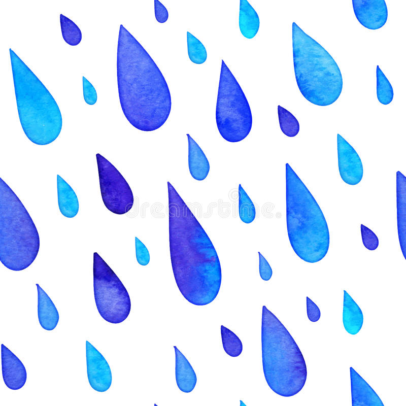 Watercolor painted rain drops seamless pattern vector illustration