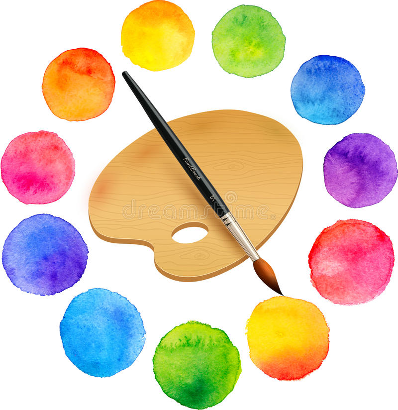 Watercolor painted rainbow colors circles with vector illustration