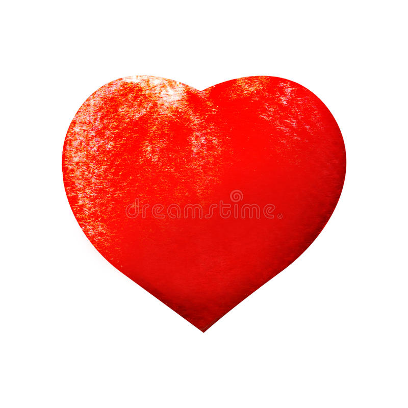 Watercolor painted red heart royalty free stock photo