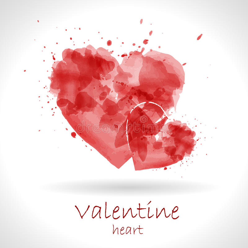 Watercolor painted red heart royalty free illustration
