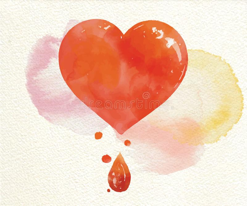 Watercolor painted red heart, vector element. Art stock photos