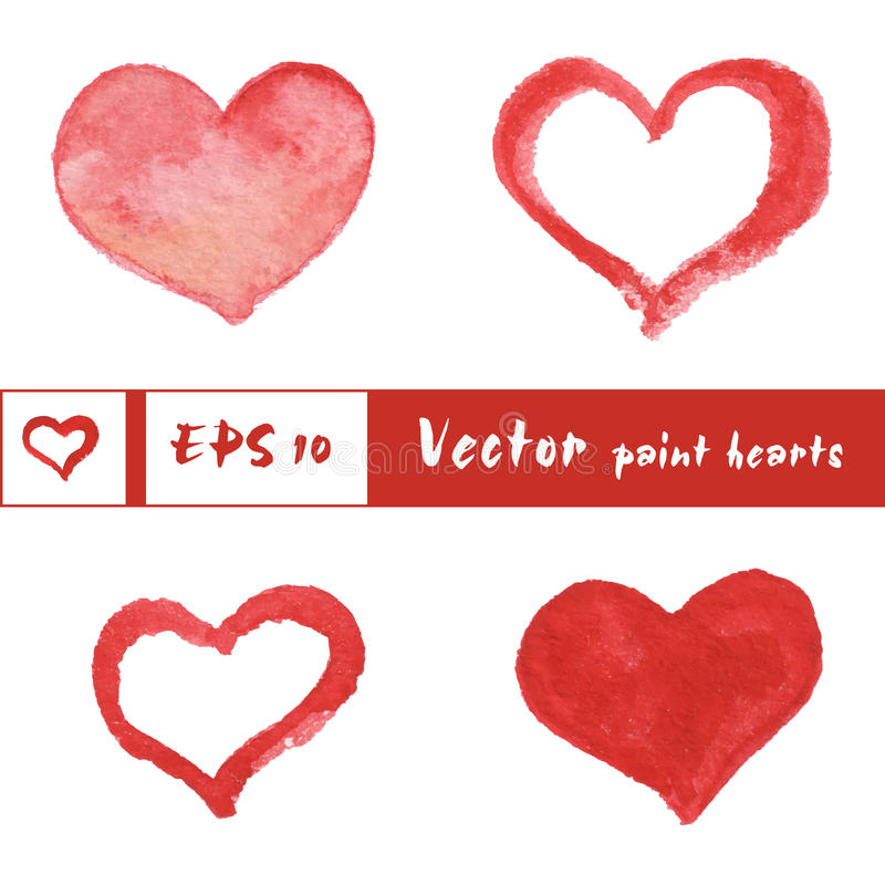 Watercolor painted red hearts set, vector elements vector illustration