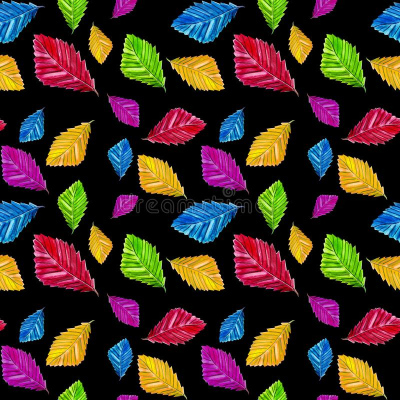 Bright autumn leaves seamless pattern on black background royalty free stock photo