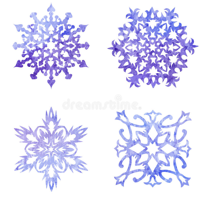 Watercolor painted set of Christmas snowflakes stock illustration