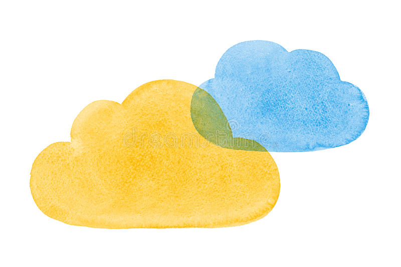 Watercolor Painted Social Networking Clouds Blue Yellow Orange royalty free stock images
