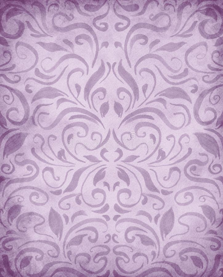 Watercolor painted symmetrical pattern background, elegant Victorian damask style wallpaper design in pretty pastel purple vector illustration