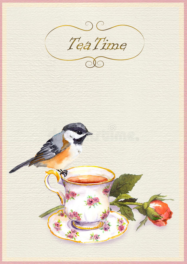 Watercolor painted teatime card with tea cup, pretty bird and rose flower. On paper background royalty free illustration