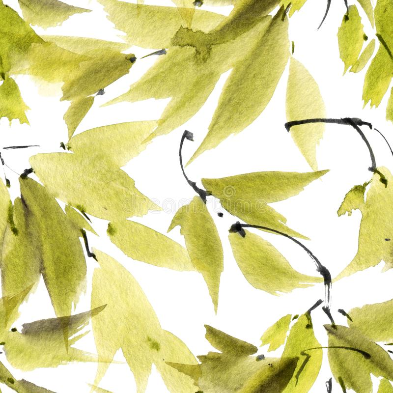 Watercolor painted tree leaves. Watercolor and ink illustration of tree branch with leaves in style sumi-e, u-sin. Oriental traditional painting. Seamless stock images