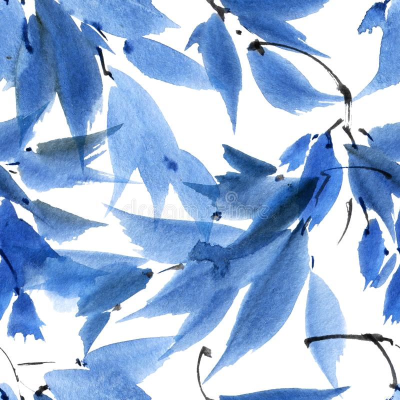 Watercolor painted tree leaves. Watercolor and ink illustration of tree branch with leaves in style sumi-e, u-sin. Oriental traditional painting. Seamless royalty free stock photography