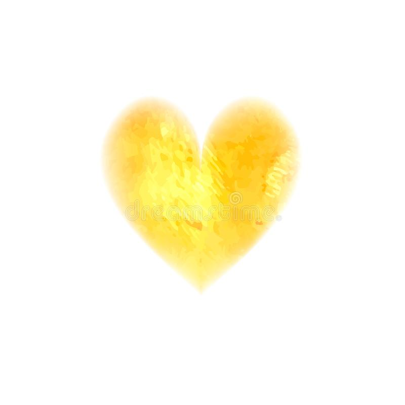 Vector watercolor heart. Watercolor painted yellow heart, element for your design. Painting of the heart. Valentines day. Wedding card. Mothers Day. Concept stock photography