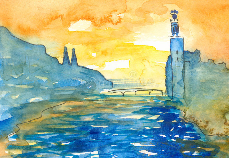 Watercolor painting in abstract naivistic style of Stockholm scene at sunset stock illustration