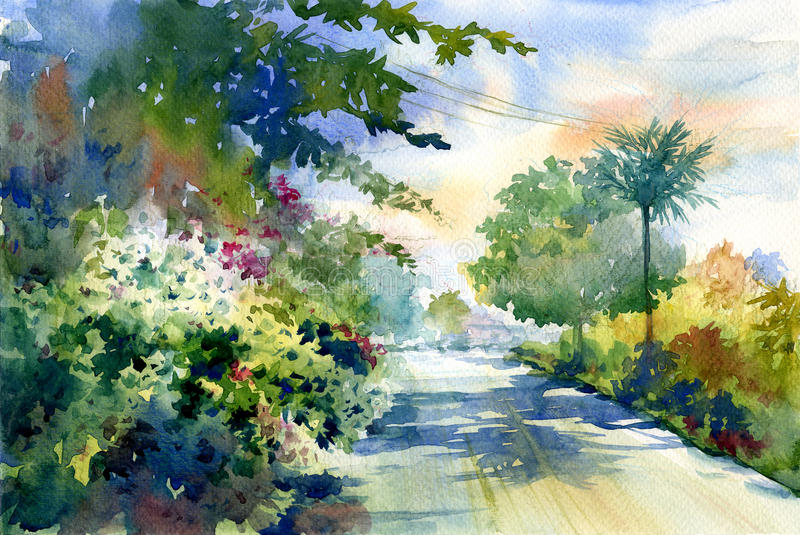 Watercolor painting of autumn landscape with a beautiful road with colored trees stock illustration