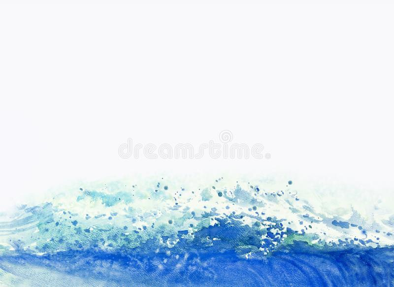 Watercolor painting background big sea wave. Watercolor painting background big sea wave of storm waves, blue color in the sea and emotions splatters. Hand royalty free stock photography
