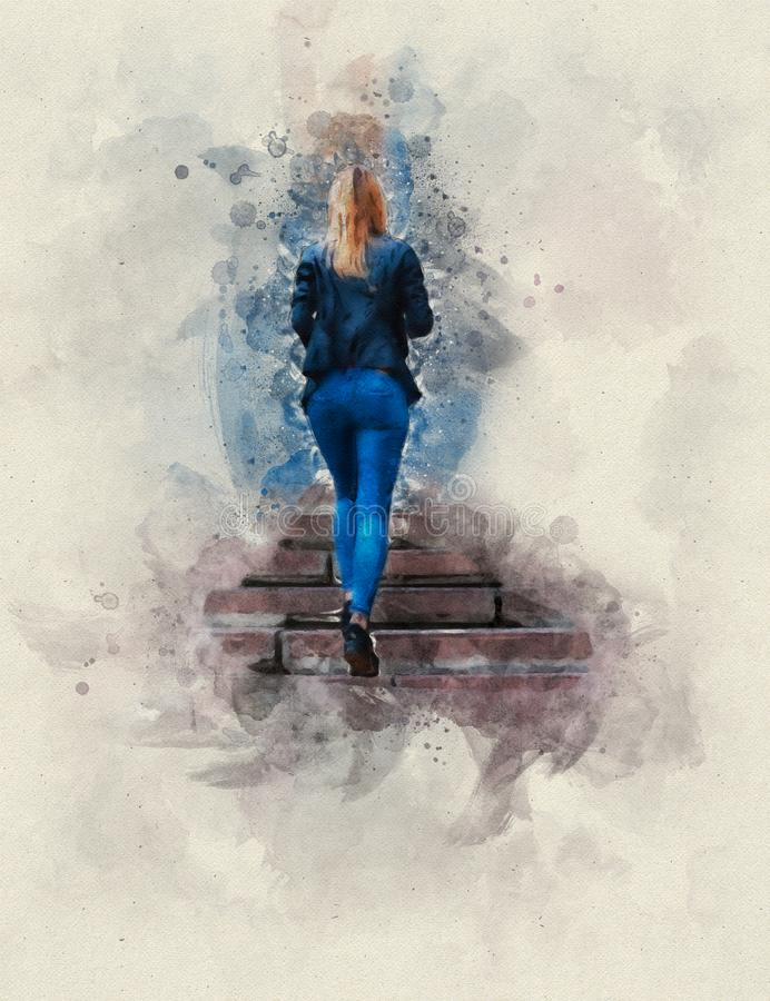 Watercolor painting. Beautiful young blond lady in tight blue jeans and a black leather jacket rises the granite steps vector illustration