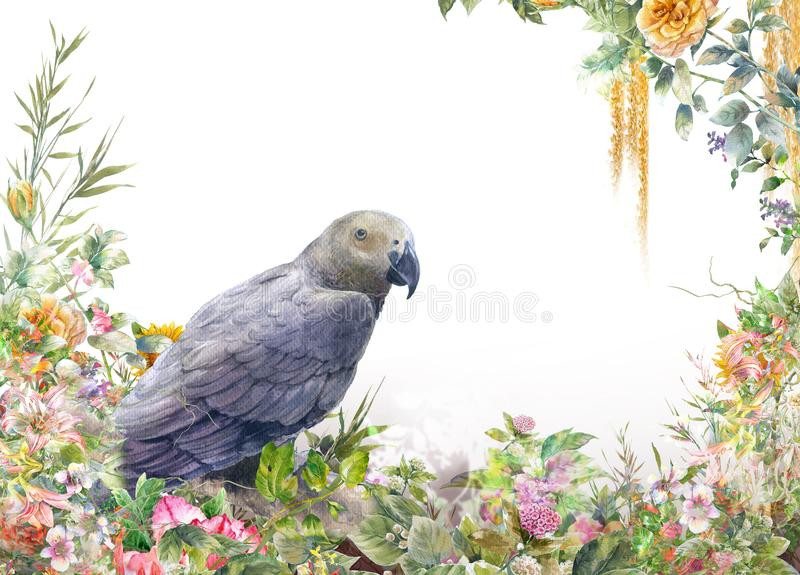 Watercolor painting with bird and flowers, on white royalty free stock photo