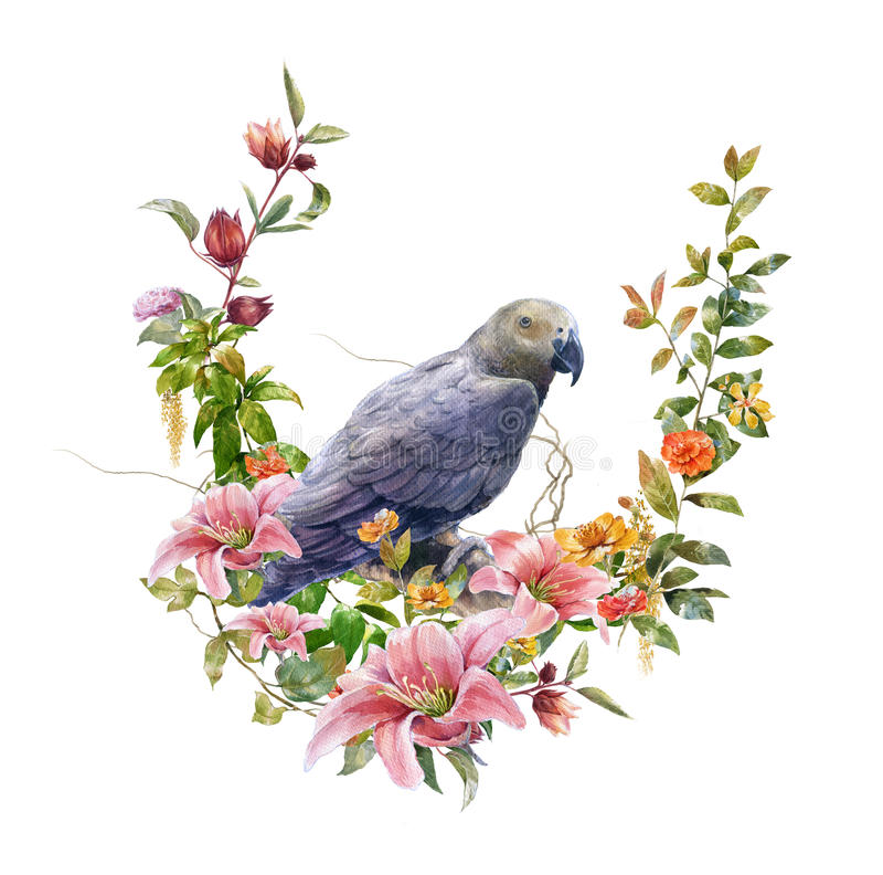 Watercolor painting with bird and flowers, on white background illustration. Watercolor painting with bird and flowers, on white background vector illustration