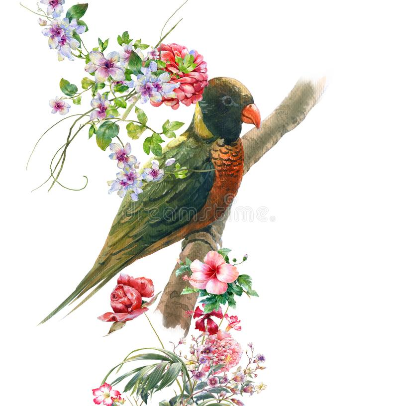 Watercolor painting with bird and flowers, on white background. stock illustration
