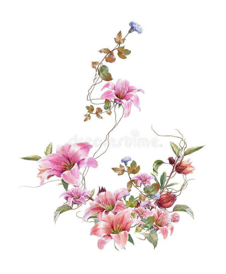 Watercolor painting with bird and flowers, on white vector illustration