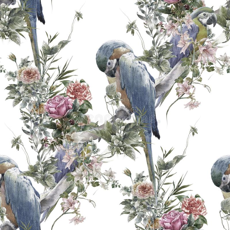 Watercolor painting with birds and flowers, seamless pattern on white background. stock illustration