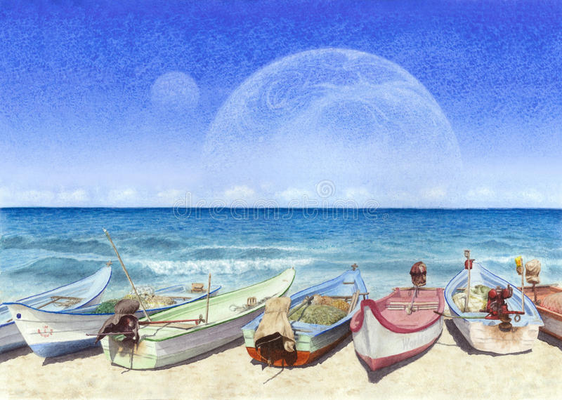 Watercolor painting of boats on the beach in unreal world. Boats on the sand beach in unreal world of planets and ocean royalty free stock photos