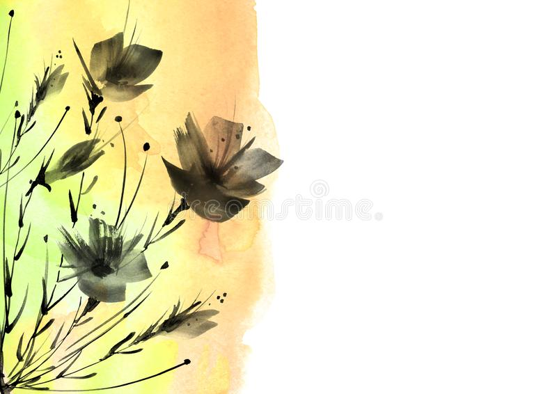 Watercolor painting.A bouquet of black silhouette flowers of poppies, wildflowers on a white isolated background.watercolor floral vector illustration
