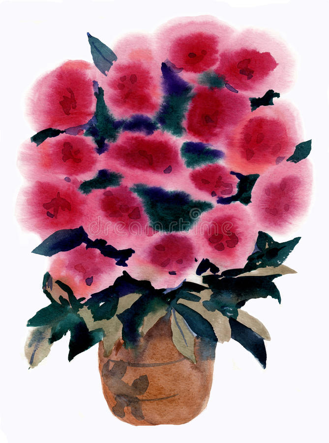 Watercolor, painting,bouquet, flowers royalty free stock photography
