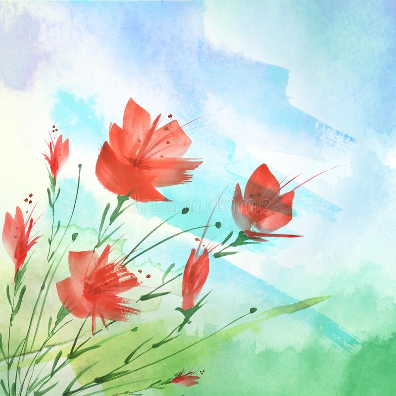 Watercolor painting. A bouquet of flowers of red poppies, wildflowers. Hand drawn watercolor floral illustration, logo. grass,blue stock photo