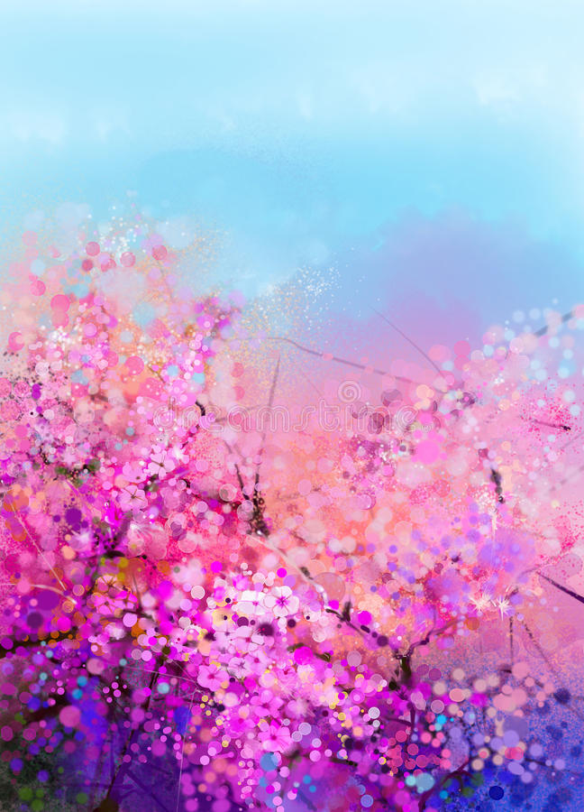 Watercolor painting Cherry blossoms vector illustration