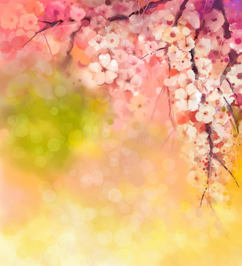 Watercolor Painting Cherry blossoms royalty free illustration