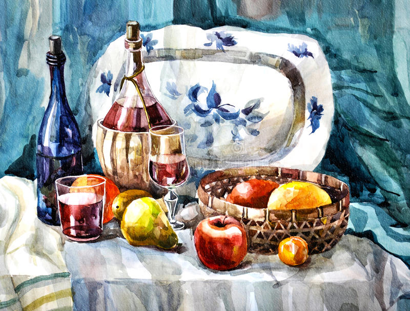 Watercolor painting. A classic painting. Depicts a wine and fruit royalty free stock images