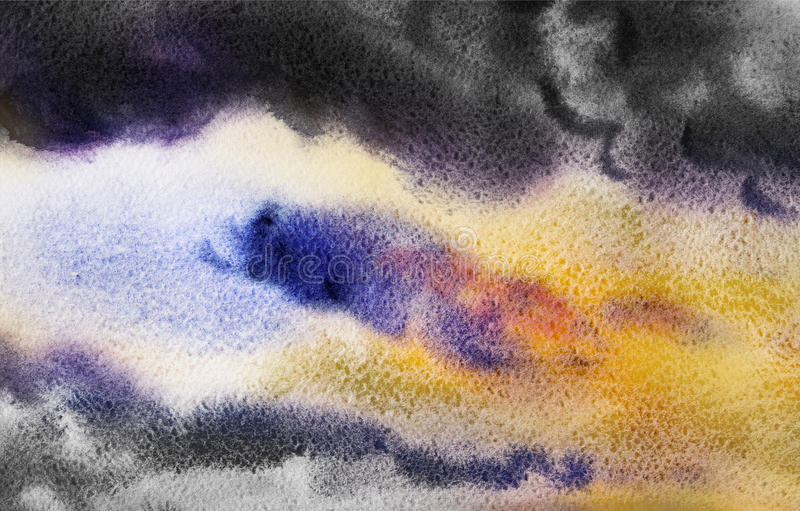 Watercolor painting cloud, sky colorful of rain-cloud in air. Watercolor painting cloud, sky colorful of rain-cloud in air and season nature abstract background royalty free stock photography