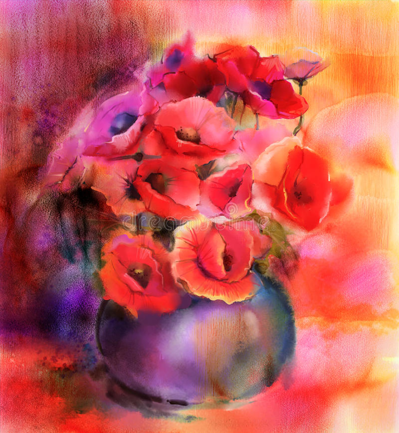 Watercolor painting Colorful Bouquet of poppy flowers in vase royalty free illustration