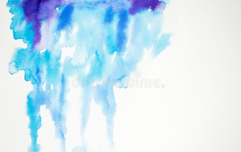 Watercolor painting colorful splashing on white paper texture. stock illustration