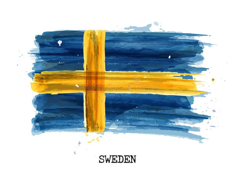 Watercolor painting design flag of Sweden . Vector stock illustration