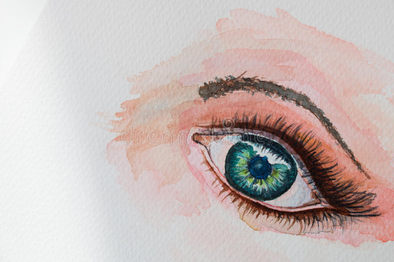 Watercolor painting eye stock photos