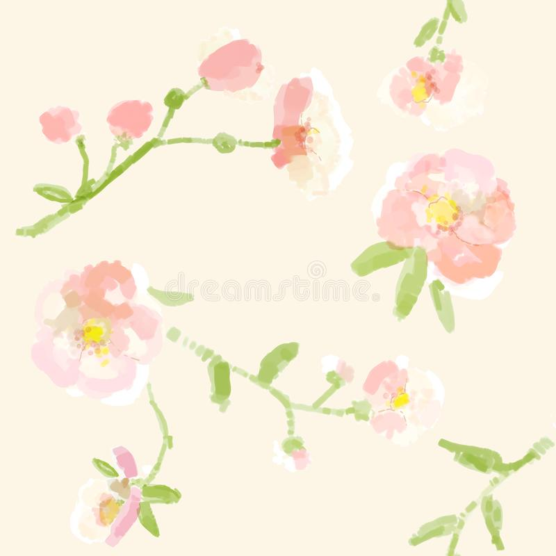 Watercolor painting fabric, repeatable textile pattern royalty free illustration