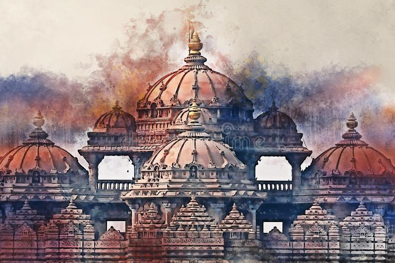Watercolor painting of facade of a temple Akshardham in Delhi, India stock illustration