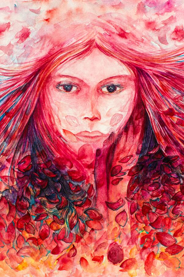 Rose Petals Breeze Redhead in Watercolors royalty free stock images