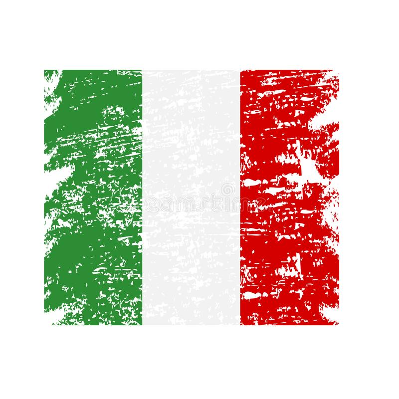 Watercolor painting flag of italy .Grunge Italy Flag, brush stroke background grunge texture.Vector vector illustration