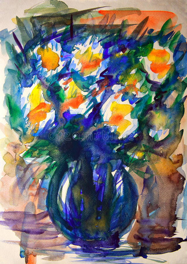 Watercolor painting of flowers. stock illustration