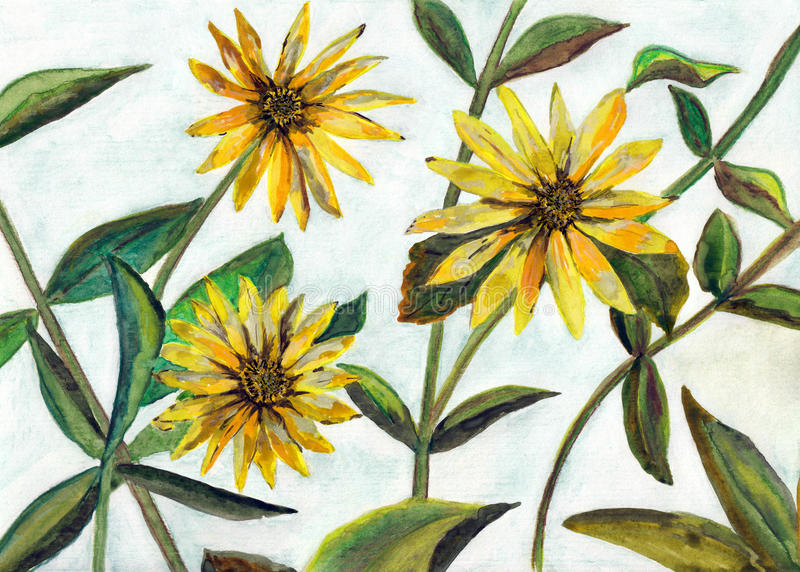 Watercolor painting flowers stock photography