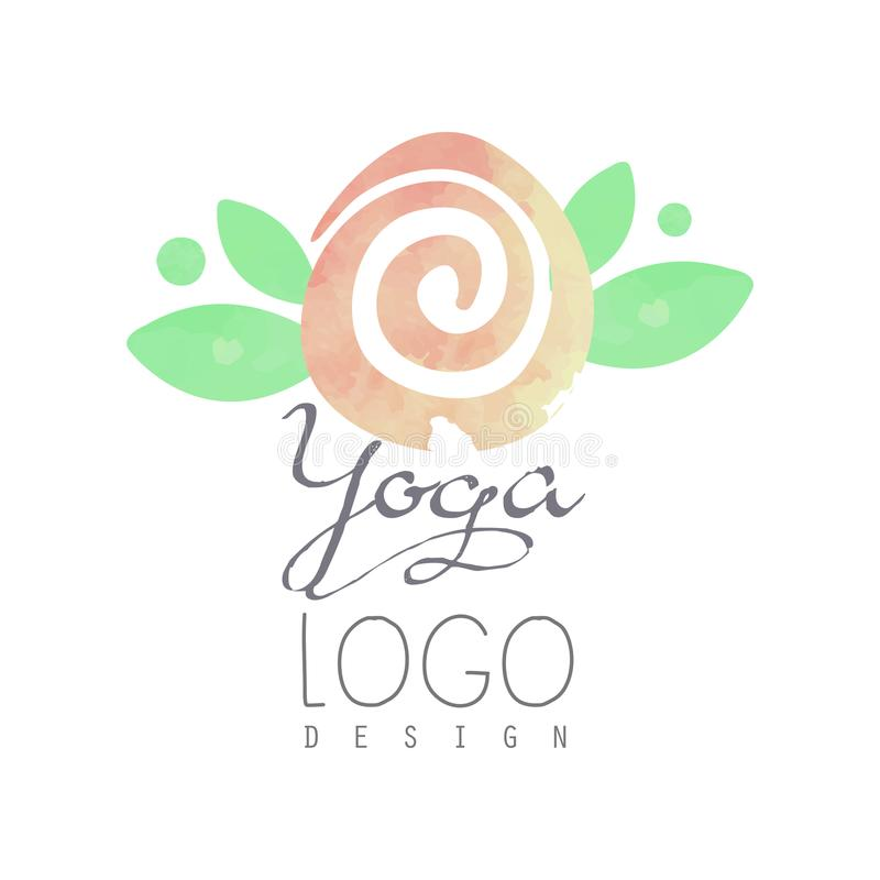 Watercolor painting with gentle-pink flower and green leaves. Original logo for yoga class or meditation center royalty free illustration