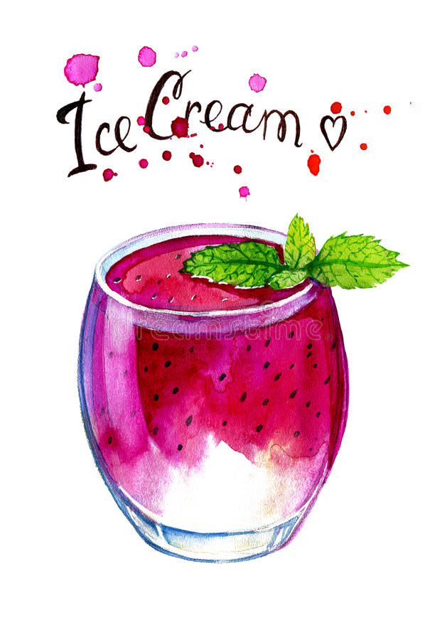 Watercolor painting of Glass with fruit ice cream. stock illustration