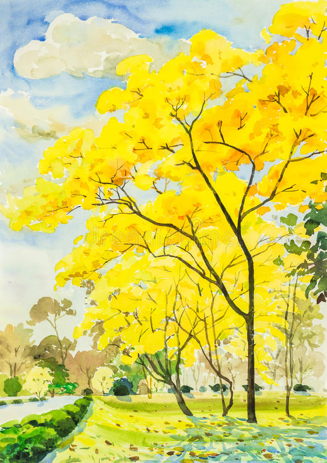tree with flowers painting watercolor painting golden tree flowers in sky and cloud