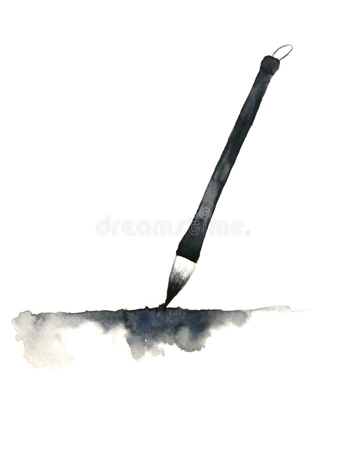 Watercolor hand drawn chinese brush and abstract ink black.isolated on white background. Watercolor painting hand drawn chinese brush and abstract ink black stock photography
