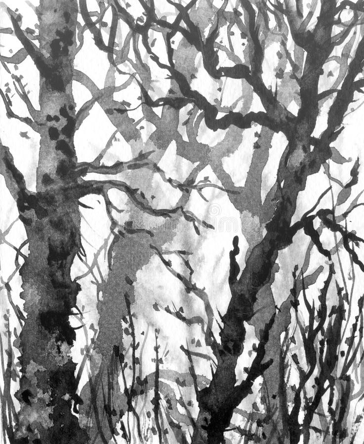Watercolor Landscape Painting Black White Color Of Tunnel