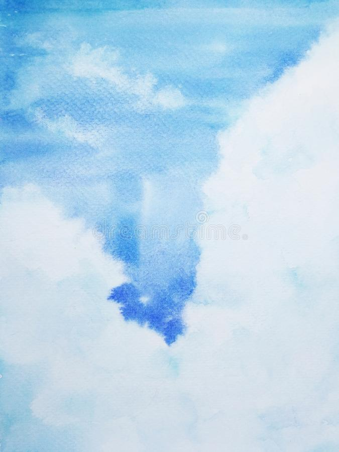 Watercolor painting hand drawn sky stock illustration