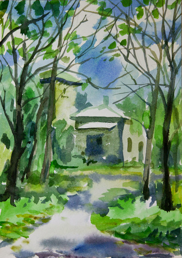 Watercolor painting of house in old forest. stock photos