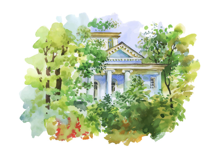 Watercolor painting of house in woods illustration stock illustration